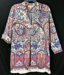 Philosophy Boho Tunic Floral Paisley Roll Tab Sleeves Pockets Women's Size Large
