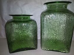 Vintage Green Glass Large Decanters / Containers - Sold As Set / Lot