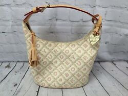 Dooney And Bourke Small Hobo Coated Canvas Signature Crossword Hearts Bag