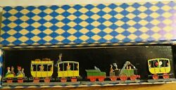 Vintage Antique 2 Sided Flat Lead Figures 3 Piece Train And Passenger Set In O/b
