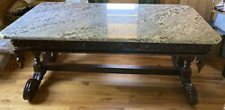Antique Hand Carved Wood Large, Beautiful, From Non-smoking Home table Desk