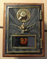 Antique Vintage Post Office Door Mail Box Postal Bank-1900and039s Flying Eagle - 107