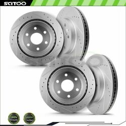 Front Rear Drilled Slotted Brake Rotors Fits 2001-2007 Gmc Sierra 1500 5.3l