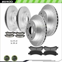 Front And Rear Brake Rotors Ceramic Pads For Gmc Savana 1500 5.3l Drill And Slot