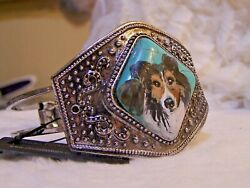 Hand Painted Sheltie Painting On Natural Turquoise Stone Silver  Bracelet