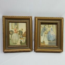 Vintage 2 Piece Vintage Victorian Pictures Wooden Frames 7 Inch Tall Wall Art