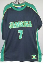 Jamaica Blue Ocean Classic Black And Green Jamaica 7 Large Soccer Jersey