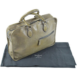 Berluti Briefcase Calligraphy Un Jour Patina Leather W/storage Bag Menand039s Auth