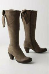 Anthropologie Very Rare Grand Exit Boots 40 9 498 Heels Green Bow Suede