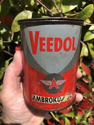 Vintage Metal Can Tidewater Oil Company Veedol Oil And Greases 1 Lb - Freeship