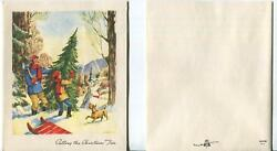 Vintage Victorian Christmas Red Sleigh Village Dog Cutting The Tree Snow Card