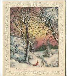 Vintage Christmas Snow Glitter Red Squirrels Winter Forest Woods Pine Trees Card