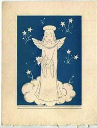 Vintage 1930's Art Deco Silver Angel Woodblock Blue Color Picture Small Print