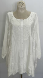 1x New Nwt 134 Coldwater Creek Sandpoint Ivory Lined Embroidered Tunic Top
