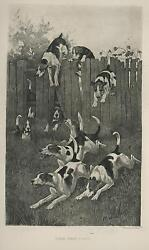Antique English Fox Hunt Hunting Hound Dogs Running Chase Jumping Fence Print