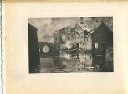 Antique Luxembourg The Red Brewery Bridge River Smoke Houses Village Rare Print