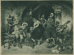 Antique Medieval Costume Tavern Serving Maid Man Lute Stein Rowdy Men Old Print