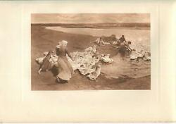 Antique Vichy France Allier River Farm Girls Chase Geese Washing Laundry Print