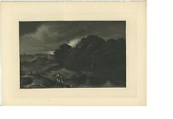 Antique Biblical Story Tobias And The Angel Of God Rembrandt Mezzotint Print