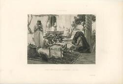Antique Beautiful Berber Tribe Woman Sewing Embroidery North Africa Art Print
