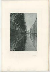 Antique Old Canal At Ghent Belgium Leie River Boat Houses Artist Willaert Print
