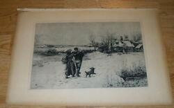 Antique Winter Snow Farm House Mother Father Child Small Dog Distressed Etching