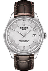 Brand New Tissot Mens Ballade Powermatic 80 Brown Leather Watch T1084081603700