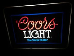 Coors Light The Silver Bullet Neon-like Bar Lighted Sign See Description