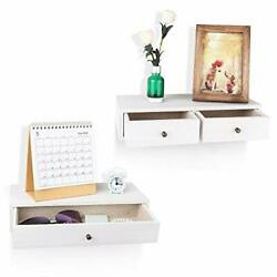 Floating Shelf With Drawer Small Rustic Wood Wall Shelves For Storage White