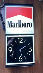Brand New Old Stock Vintage Marlboro Lighted Wall Sign With Clock Mint Cond.
