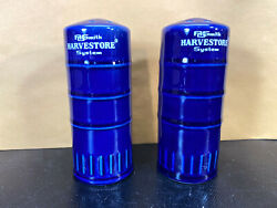 """Vintage Ao Smith Harvestore System Silo Salt And Pepper Shakers Blue 4 1/2"""" Tall"""