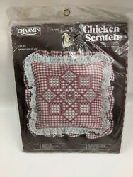 VINTAGE CHICKEN SCRATCH CROSS STITCH EMBROIDERY KIT RED GINGHAM PILLOW