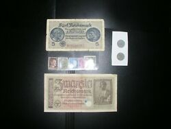 Rare Wwii Nazi Germany 2 Coins 1942-1943 And 2 Notes 1939, 5 Stamps, G5412