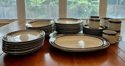 Vtg Karelia By Arabia Finland Service For 8+oval Tray Brown Bands Stoneware 70s