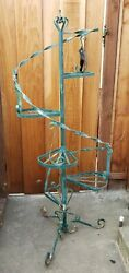 Vtg Wrought Iron Spiral Stair Case Plant Stand Mid Century Retro Planter 5and039 X 2and039