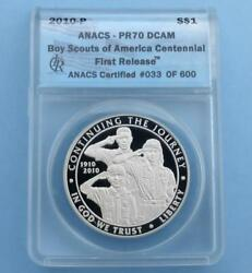 2010 Anacs Pr 70 D-cam Boy Scouts Silver Dollar, First Release Label 033 Of 600