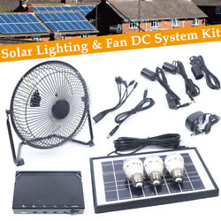 Solar Power Panel Usb Charging Led Light + Fan Kit For Home Outdoor Camping Hot