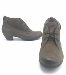 Aetrex Cobble Hill Brown Womens Sz 7m Lace Up Boots Heel Leather Cbd15st