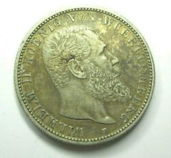 1906 F Wurttemberg German 2 Mark Uncommon World Silver Coin 114 Years Old