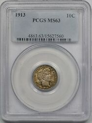 1913 10c Pcgs Ms 63 Barber Silver Dime