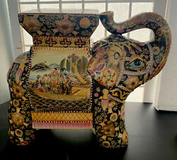 """Atnq Chinese Elephant Stool/plant Stand, Elaborate Detail, Excellent 11"""" X 13"""""""