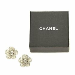 Coco Mark Flower Earrings Silver Metal 03 A Womenand039s Used With Storage Box