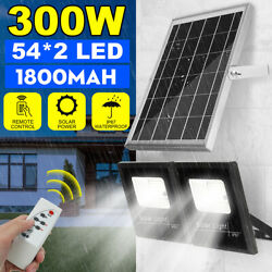 300w Outdoor Led Solar Power Garden Wall Light Security Floodlight Lamp+remote