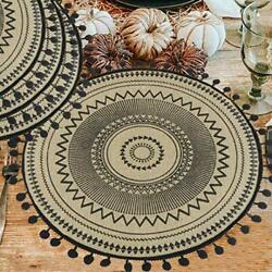 Ailsan Mandala Round Placemats With Pompom Ball Farmhouse Woven Placemat 15 I...