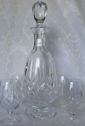 Waterford Crystal Lismore Brandy Decanter 13,5 Skinny And 4 Sniffers Set Signed