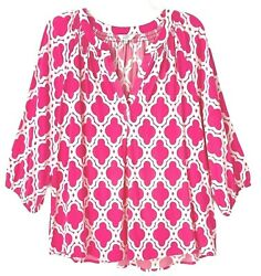 Crown And Ivy Blouse Pink White Geometric 3/4 Sleeves Women's Size Xl