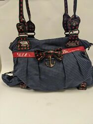 Iron Fist Punk Stripes And Ankers Bag Handbag Purse Rockabilly Gothic Navy Red