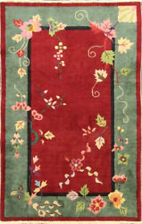 Antique Art Deco Chinese Oriental Rug, The Leaf's Queen 3' X 4'8 17219