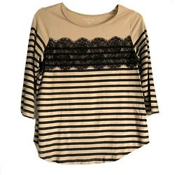 Coldwater Creek Tan And Black Stripe Lace Blouse Extra Large Xl 16 3/4 Sleeves