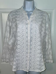 Coldwater Creek Sz Large White Floral Embroidered L/s Fitted Cotton Top Euc